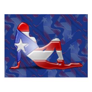Bandera puertorriqueña de la silueta del chica postal