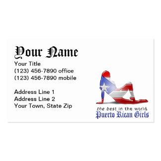Bandera puertorriqueña de la silueta del chica tarjetas de visita