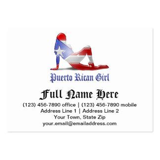 Bandera puertorriqueña de la silueta del chica tarjetas de visita grandes