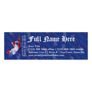 Bandera puertorriqueña de la silueta del chica tarjetas de visita mini