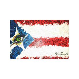 Bandera puertorriqueña de V. Sisk Lienzo Envuelto Para Galerias