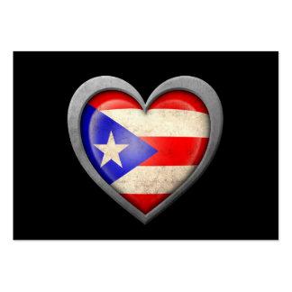 Bandera puertorriqueña del corazón con efecto del  tarjetas de visita grandes