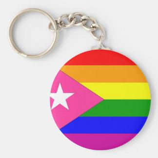 Bandera puertorriqueña del orgullo gay llavero redondo tipo pin