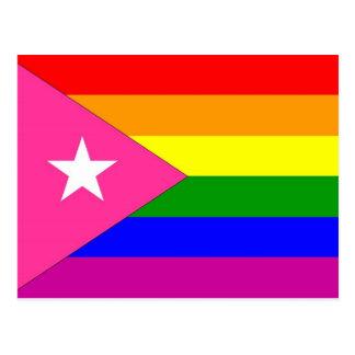 Bandera puertorriqueña del orgullo gay tarjeta postal
