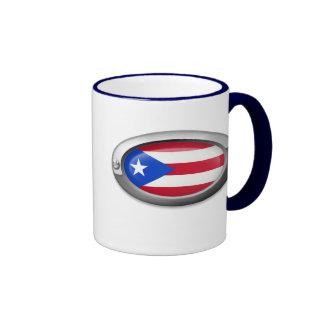 Bandera puertorriqueña en el marco de acero tazas de café