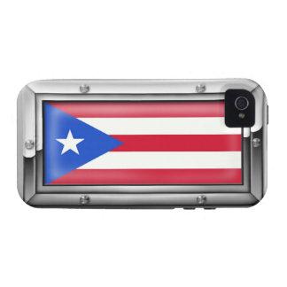 Bandera puertorriqueña en un marco de acero iPhone 4/4S carcasas