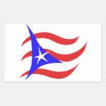 Bandera puertorriqueña pegatina rectangular