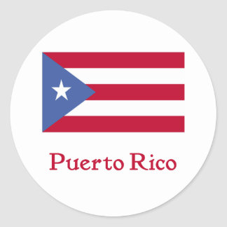 Bandera puertorriqueña pegatina redonda