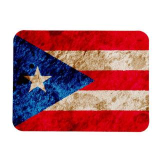 Bandera puertorriqueña rugosa imán rectangular