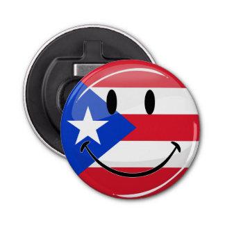 Bandera puertorriqueña sonriente de la ronda abrebotellas redondo