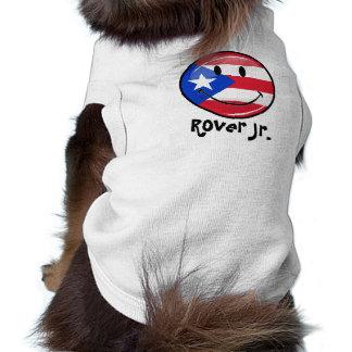 Bandera puertorriqueña sonriente de la ronda playera sin mangas para perro