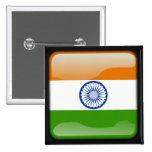 Bandera pulida india pin cuadrado