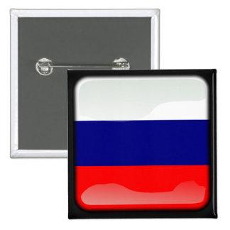 Bandera pulida rusa pin cuadrado