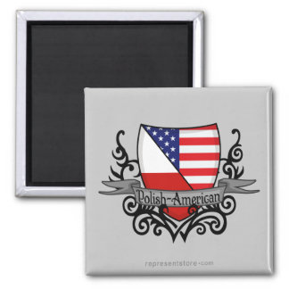 Bandera Pulimento-Americana del escudo Imán Cuadrado
