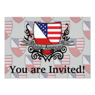 """Bandera Pulimento-Americana del escudo Invitación 5"""" X 7"""""""