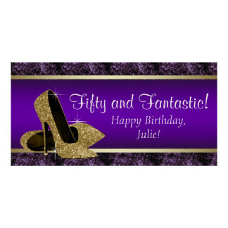 Bandera púrpura de la fiesta de cumpleaños del póster