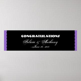 Bandera púrpura del boda o del compromiso del cord póster