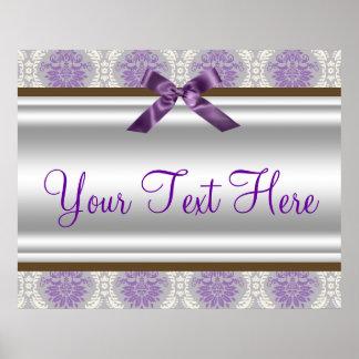 Bandera púrpura del fiesta del damasco impresiones