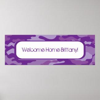 Bandera púrpura del hogar de la recepción del camu póster