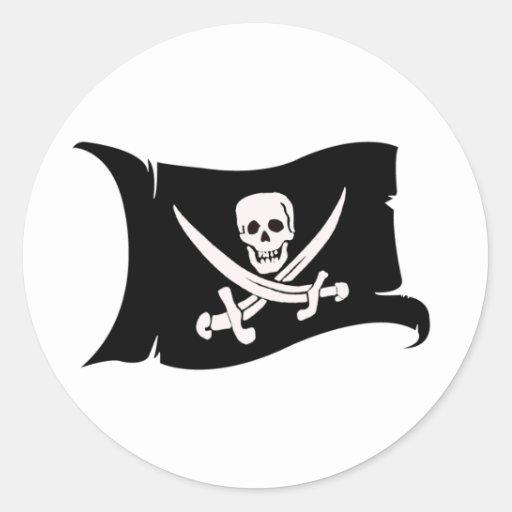 Bandera que agita #10 Jack Rackham Pegatina Redonda