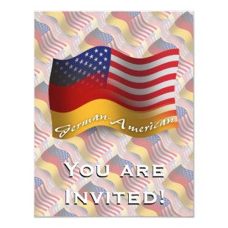 """Bandera que agita Alemán-Americana Invitación 4.25"""" X 5.5"""""""