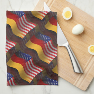 Bandera que agita Alemán-Americana Toalla De Cocina
