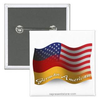 Bandera que agita Alemán-Americana Pin Cuadrado