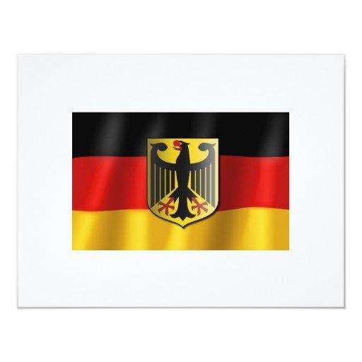 """Bandera que agita alemana invitación 4.25"""" x 5.5"""""""
