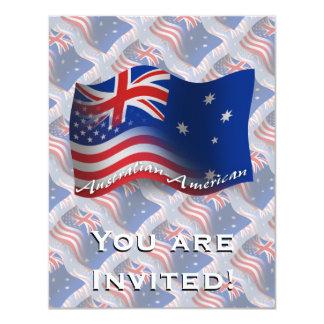 """Bandera que agita Australiano-Americana Invitación 4.25"""" X 5.5"""""""