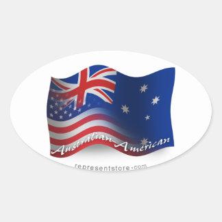 Bandera que agita Australiano-Americana Calcomanía De Óval
