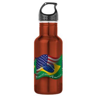 Bandera que agita Brasileño-Americana