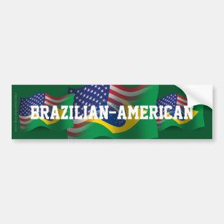 Bandera que agita Brasileño-Americana Pegatina De Parachoque