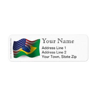 Bandera que agita Brasileño-Americana Etiqueta De Remite