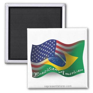 Bandera que agita Brasileño-Americana Imán De Nevera