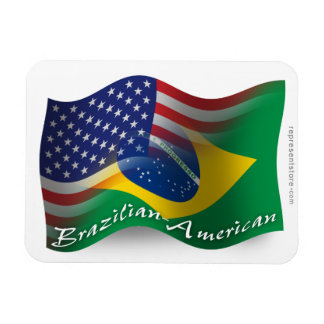 Bandera que agita Brasileño-Americana Iman