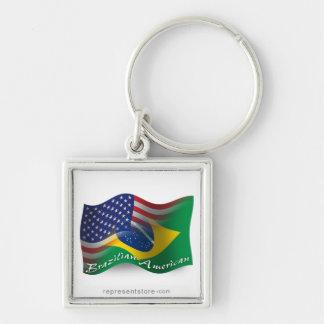 Bandera que agita Brasileño-Americana Llavero Cuadrado Plateado