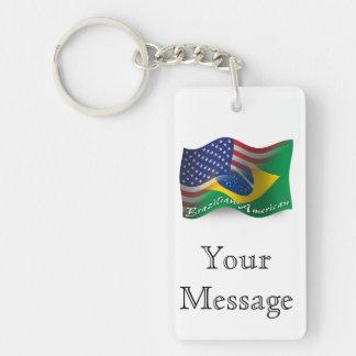 Bandera que agita Brasileño-Americana Llavero Rectangular Acrílico A Doble Cara