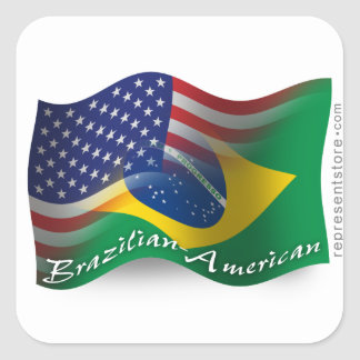 Bandera que agita Brasileño-Americana Pegatina Cuadrada