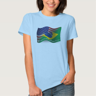 Bandera que agita Brasileño-Americana Polera