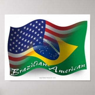 Bandera que agita Brasileño-Americana Póster