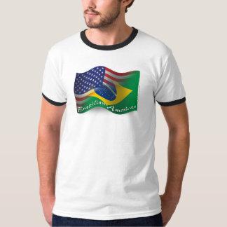 Bandera que agita Brasileño-Americana Remeras