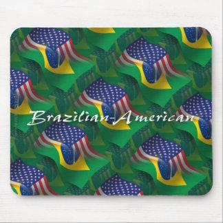 Bandera que agita Brasileño-Americana Tapete De Ratón