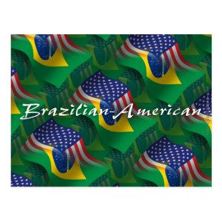 Bandera que agita Brasileño-Americana Tarjeta Postal