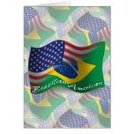 Bandera que agita Brasileño-Americana Tarjeton