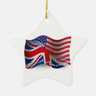 Bandera que agita Británico-Americana Adorno Navideño De Cerámica En Forma De Estrella
