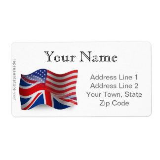 Bandera que agita Británico-Americana Etiqueta De Envío