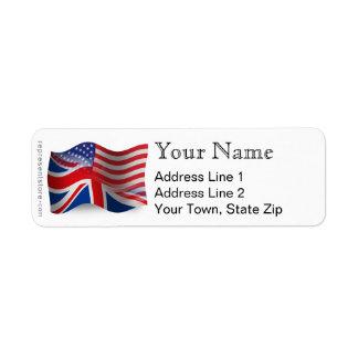 Bandera que agita Británico-Americana Etiqueta De Remite