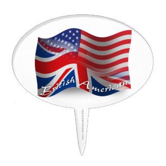Bandera que agita Británico-Americana Figura De Tarta