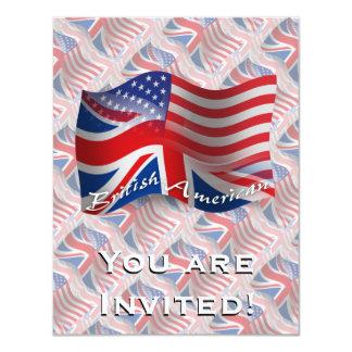 """Bandera que agita Británico-Americana Invitación 4.25"""" X 5.5"""""""
