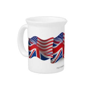 Bandera que agita Británico-Americana Jarras De Beber